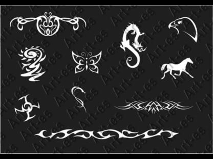 zestaw szablonów do tatuażu