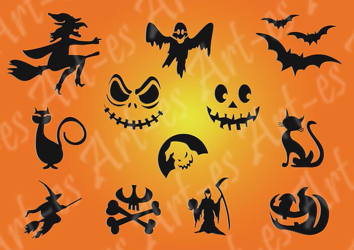 Zestaw Szablonów Do Tatuażu 18 Halloween